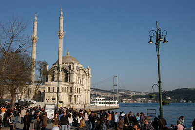 The waterfront Ortakoy Mosque, built in 1853 - 1854, and the Bosphorus Bridge, completed in 1973, connecting Europe (near side) with Asia.