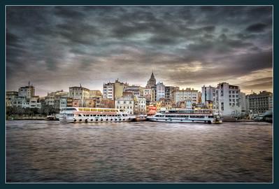 The Golden Horn, Istanbul, Turkey, treated as an oil painting.