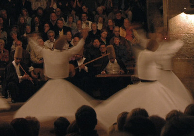 Whirling Dervish 'Sema' performance at the Seljuk caravanserai at Sarihan, Turkey.