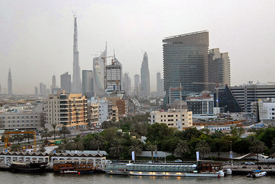 Dubai, United Arab Emirates, skyline, including Burj Dubai (currently the world's tallest building due to be 2684 feet - 818 meters - on completion) and Dubai Creek, or Khor Dubai.