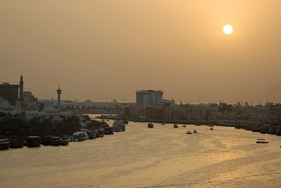 The creek, or Khor Dubai, at sundown, Dubai, United Arab Emirates.