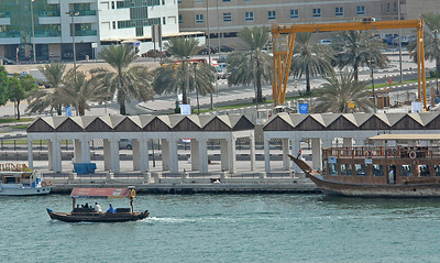Dhow on the creek, or Khor Dubai, Dubai, United Arab Emirates.