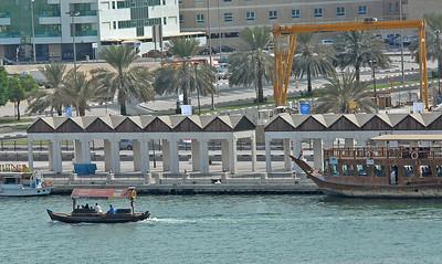 Dhow on the creek, or Khor Dubai, Dubai, United Arab Emirates.