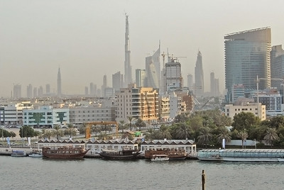 Dubai, United Arab Emirates, skyline, including Burj Dubai (currently the world's tallest building due to be 2684 feet - 818 meters - on completion) and Dubai Creek, or Khor Dubai.