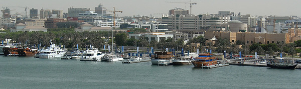 Dhows on the creek, or Khor Dubai, Dubai, United Arab Emirates.