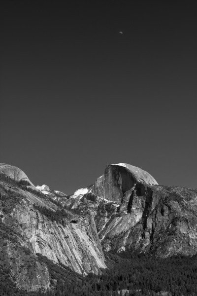 Half Moon Over Half Dome, Yosemite National Park, California, USA, North America