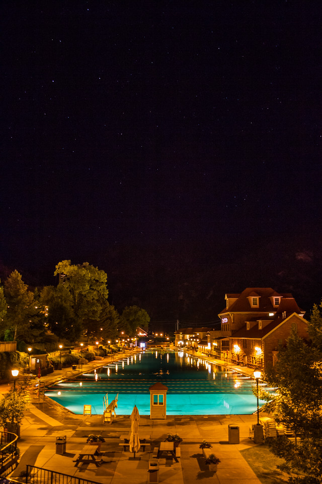 Night view of swimming pool in hotel - USA - Colorado