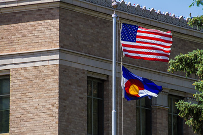 View of American flag waving - USA - Colorado