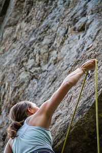Woman climbing on rock - USA - Colorado