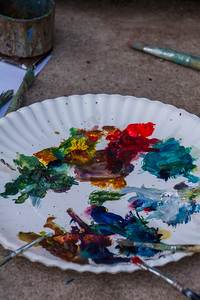 Close-up of paints in plate - USA - Colorado