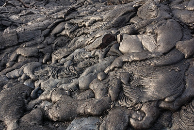 Fresh warm soft lava shapes formed from the lavar flow to the Ocean on the Big Island of Hawai.