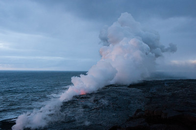 Lava flowing into the Ocean south of the big island of Hawai.