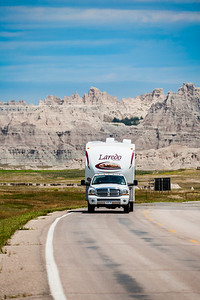 Food van moving on road - usa