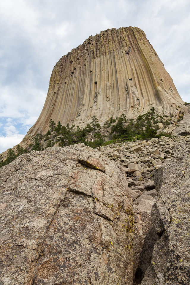 Crook County - View of rock formation Devils Tower - USA - Wyoming