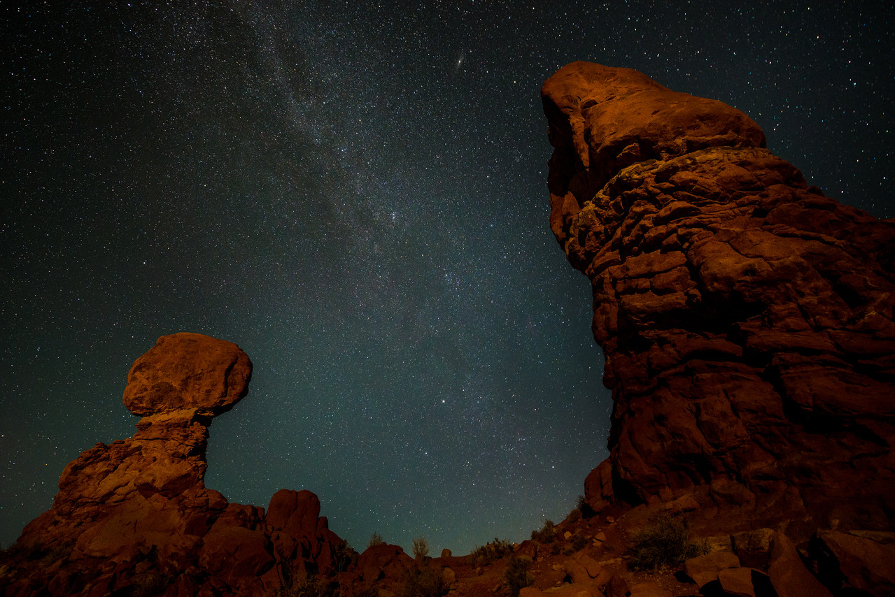 The Milky Way Over Balanced Rock, Arches National Park, Utah, USA, North America