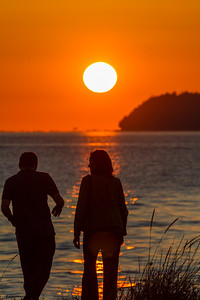 Couple standing near sea - USA - Washington - Bellingham