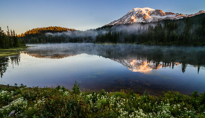 Mount Rainier And Reflection Lakes At Sunrise, Washington, USA, North America
