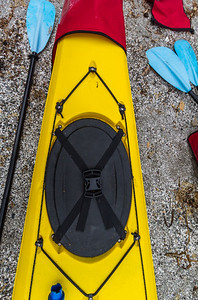Kayak with oar on rock - USA - Washington - Bellingham