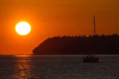View of sea at sunset - USA - Washington - Bellingham