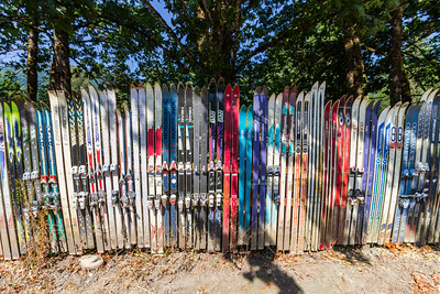 Wyoming fence made of snow skis - Bellingham