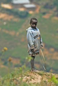 Boy on hillside near Nteko village, Uganda.