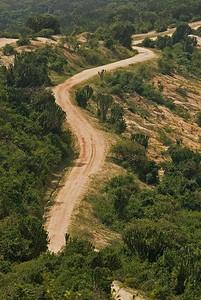 Road through Queen Elizabeth National Park, Uganda.