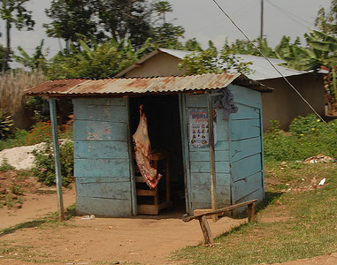 Butcher shop, rural Uganda.