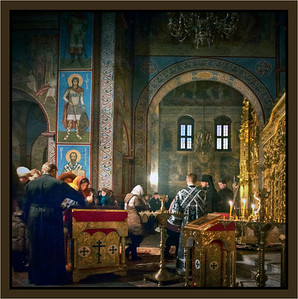 A service in St. Michael's Cathedral, Kyiv, Ukraine in March, 2013, treated as an old oil painting.
