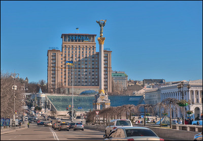 The Ukraine Hotel on Independence Square, Kyiv, Ukraine.