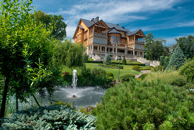 Former Ukrainian President Viktor Yanukovich's home from the rear. The balcony off the President's bedroom, top right, afforded him a lovely private view of the Dnieper River. The corresponding balcony, on the left, opened off his girlfriend's bedroom.