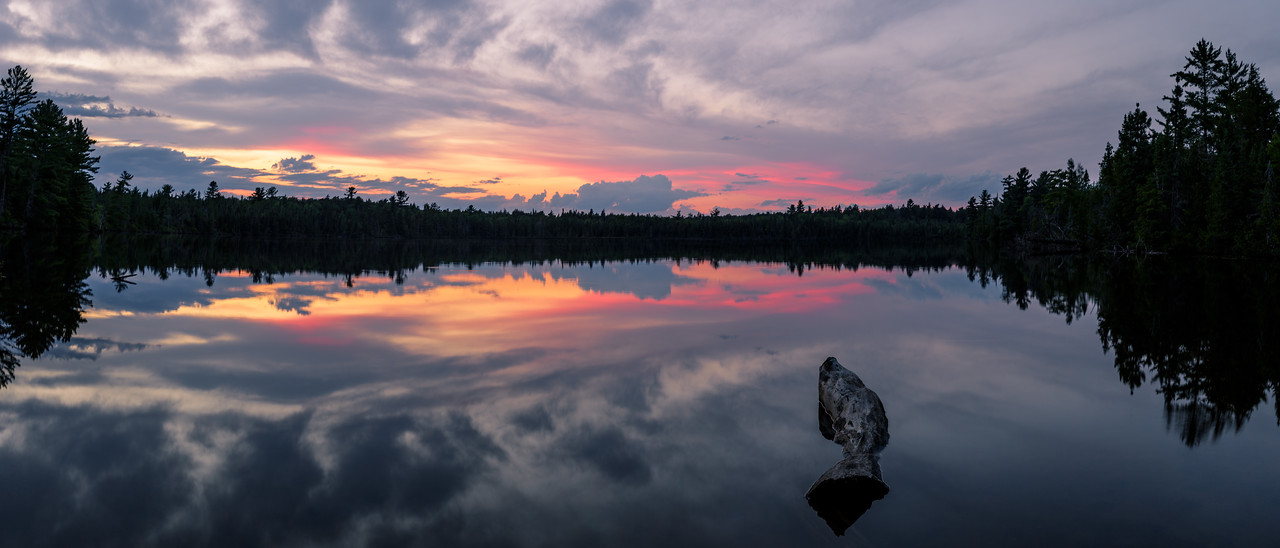 Sunset over Canoe Lake in Michigans Upper Peninsula.