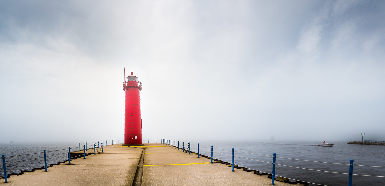 Photo of the Muskegon Lighthouse on a foggy day.