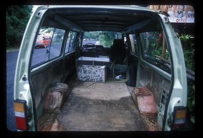 Van with no driver's seat, Espiritu Santo Island, Vanuatu.