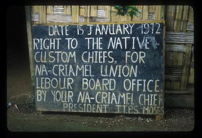 Sign on Espiritu Santo Island, Vanuatu.