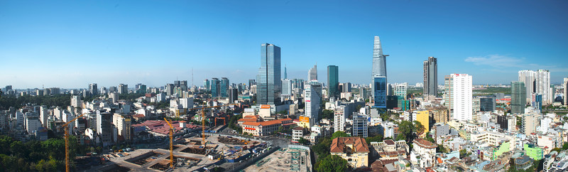 Downtown Ho Chi Minh City from Ben Thanh Tower, April, 2019.