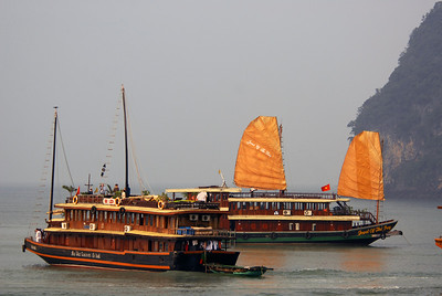 Tour boats on Halong Bay, Vietnam.