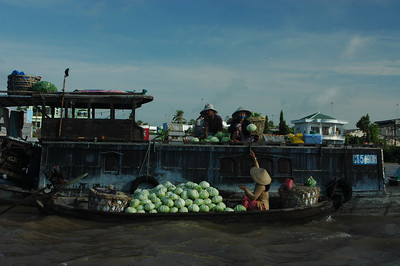 A trader in cabbage, Can Tho, Mekong delta, Vietnam.