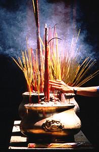 Incense in temple, Cholon, Saigon (Ho Chi Minh City) Vietnam.