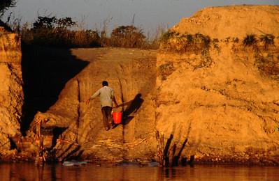 Water at crossing spot, Luangwa River, South Luangwa Park, Zambia.