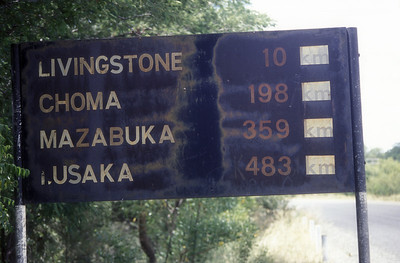Road sign, extreme southern Zambia.