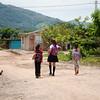 Girls walking in their community