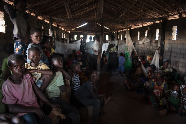 Displaced families shelter inside a church in Tanganyika province
