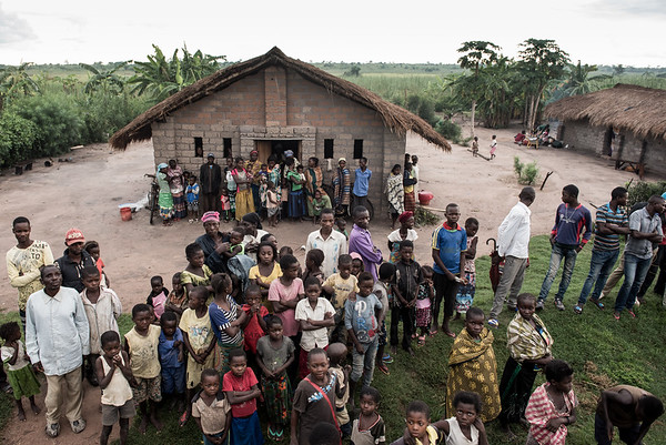 Displaced people settled in a church to seek safety in Tanganyika province