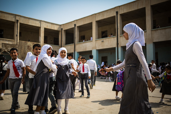 Students playing in Faihaa school during morning break