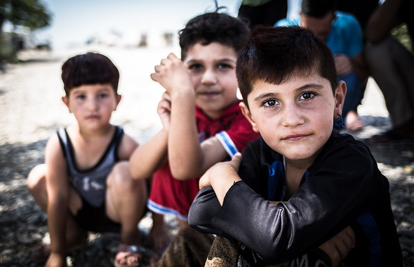 Yazidi children in a displacement camp near Dohuk