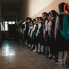 These students just started their school year. they are in the queue to get their books in a dark hall in Maimoona School. <br /> <br /> Many Student mentioned that the power keeps cutting off.