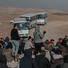 Syrian refugees at Sahela reception centre at the border with Syria waiting to board buses to the camps