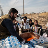 Water and soup distribution in Bardarash camp