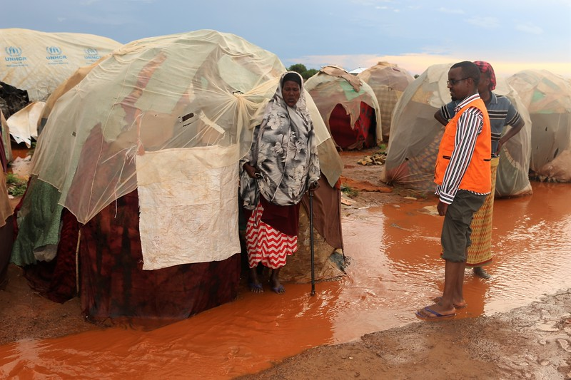 Flooding due to the heavy rains has made shelters unlivable in one of the many camps for displaced people in Baidoa, Somalia. Thousands of families are affected. Many latrines have been ruined, and the threat of waterborne diseases has risen. NRC staff here are assessing the problem, but more aid is needed to respond to the flooding.<br /> <br /> There have been heavy and frequent rains in Somalia, and many other cities are facing a similar situation, like here in Baidoa.<br /> <br /> Picture taken April 18, 2018 <br /> <br /> Photo: Adam Nur Omar/NRC