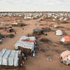 An overhead photo of the Qansaxley IDP settlement in Dollow, Somalia, located near the border to Ethiopia. Many families have fled here from the drought. <br /> Date: February, 2018<br /> Photo: NRC/EU Christian Jepsen